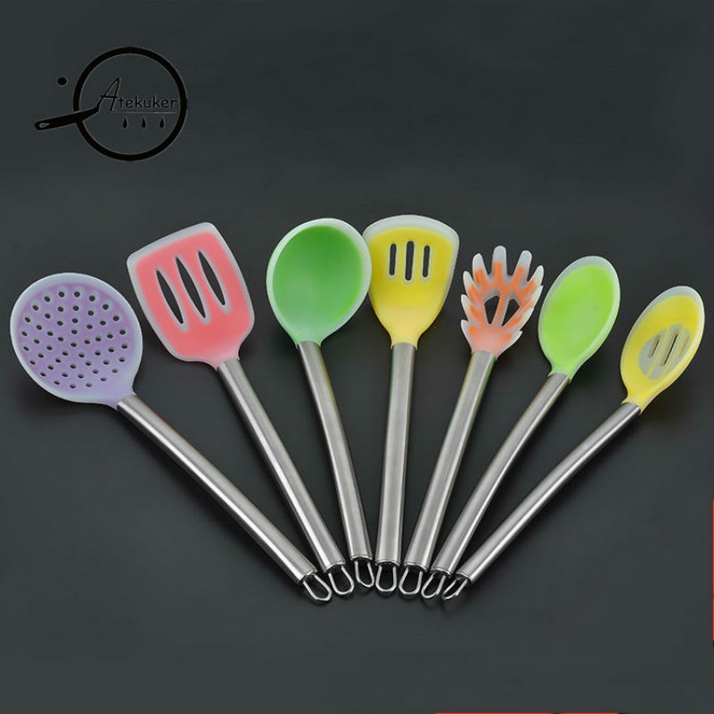 Atekuker 7Pcs Stainless Steel Handle Silicone Cooking Utensils Set Kitchen Ladle Spoon Slotted Spatula Spaghetti Tools