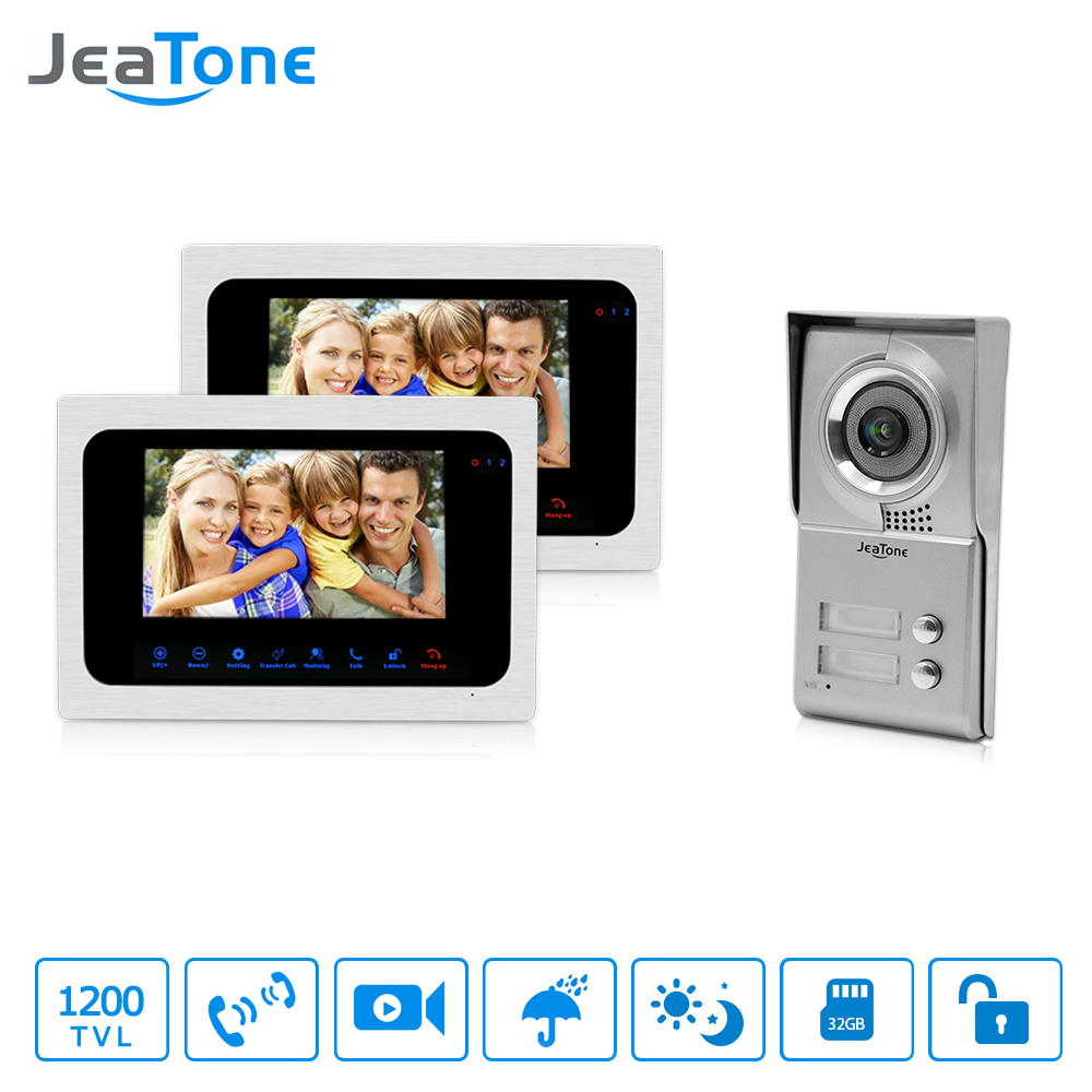 Jeatone 7 HD Monitor Apartment Video Door Phone Video Intercom Doorbell System 1200 TVLine Camera Touch Key for 2 Families new 7 tft lcd video door phone intercom doorbell system 4 monitor screens 1 outdoor camera door bell for 4 families apartment
