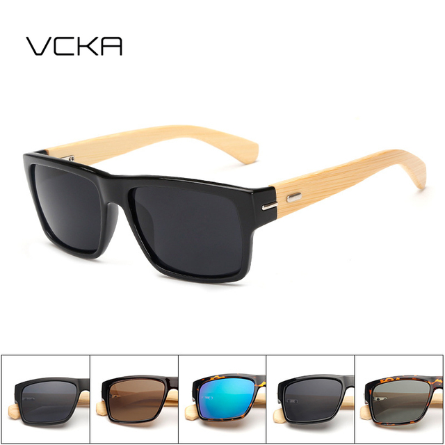 1182d937edd5 VCKA Vintage Handmade Sunglasses Bamboo Retro Black Goggles Wood Men Square  Sun Glasses Women Men UV400 Goggles lunettes Oculos