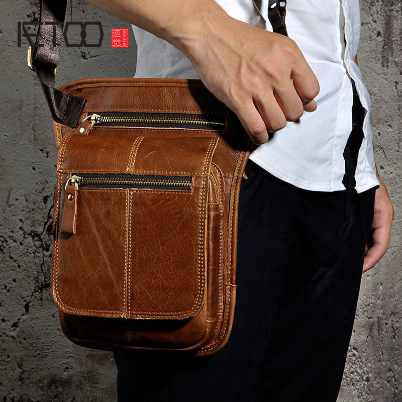 AETOO The first layer of crazy horse genuine leather messenger bag leather retro men tide cool phone camera leg bag purse aetoo the first layer of pure leather mini handmade messenger mobile phone bag full leather retro color vegetable tanned leather