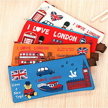 1Pcs New Cute British London Bus Soldier Head Oxford School Stationery Student Pencil Bag Storage Zipper Case E0027(China)