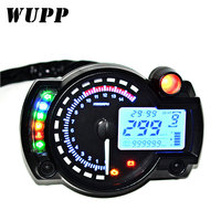 WUPP 15000 RPM Meter Motorcycle Digital Speedometer Tachometer Odometer LCD Fuel Gauge DC 12V MAX 299KM/H 7 Color Adjustable