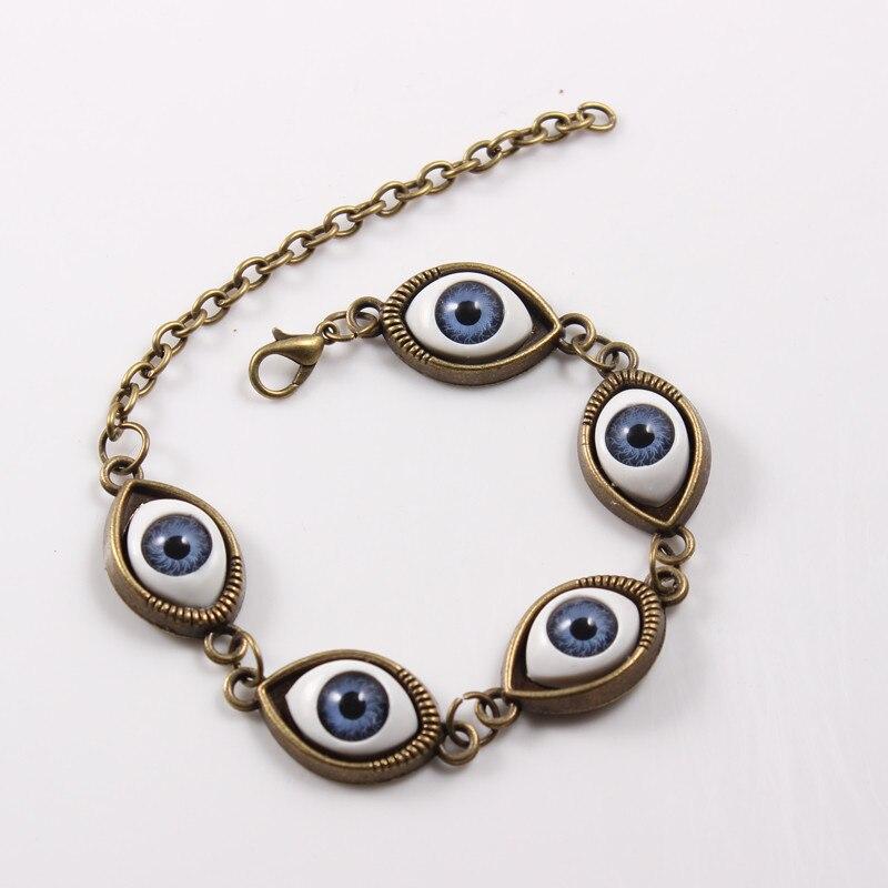 2017 Vintage Bronze Punk Blue Evil Eyes Bracelet Women Diy Hand Chain Bracelet Wristband Bracelets Jewelry