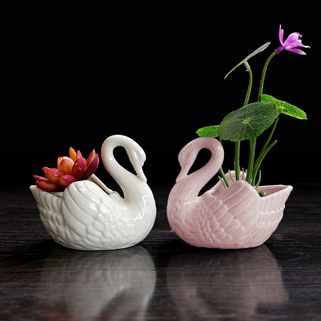 Set Of 2 Lovely Swan White Ceramic Planter For Succulents Decorative