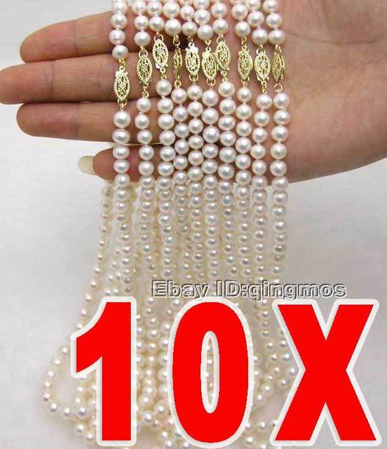 SALE WHOLESALE 10X  AA+ 6-7mm Natural WHITE FRESHWATER PEARL NECKLACE-who100 wholesale/retail Free shipping