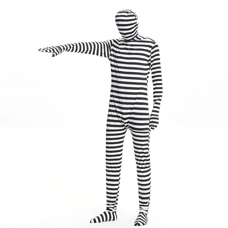 2017 New Carnival Halloween Prisoner Costume Suit Black White Stripe Dress Prisoner Cosplay Costumes for Adult Men Women