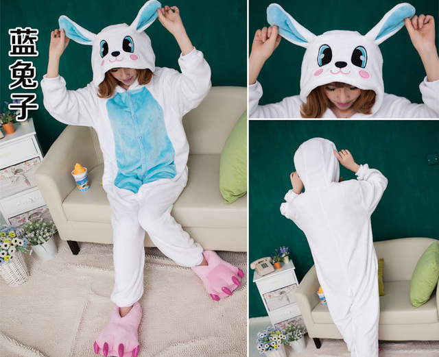 Super Soft Warm Flannel Fleece Adult Rabbit Pyjamas Cosplay Costume Animal Onesies Sleepwear Pajamas Party Dress for Christmas