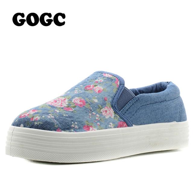 GOGC Sapatos Plataforma Respirável sapatos de Lona Floral Da Flor das Mulheres Sapatos de Tecido de Algodão para As Mulheres Calçado Feminino Sapatos Rasos Mulheres