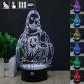 Jeová a Luz Da Noite 3D RGB Mutável Mood Lamp LED Luz DC 5 v usb candeeiro de mesa decorativo obter um free controle remoto hui YUAN