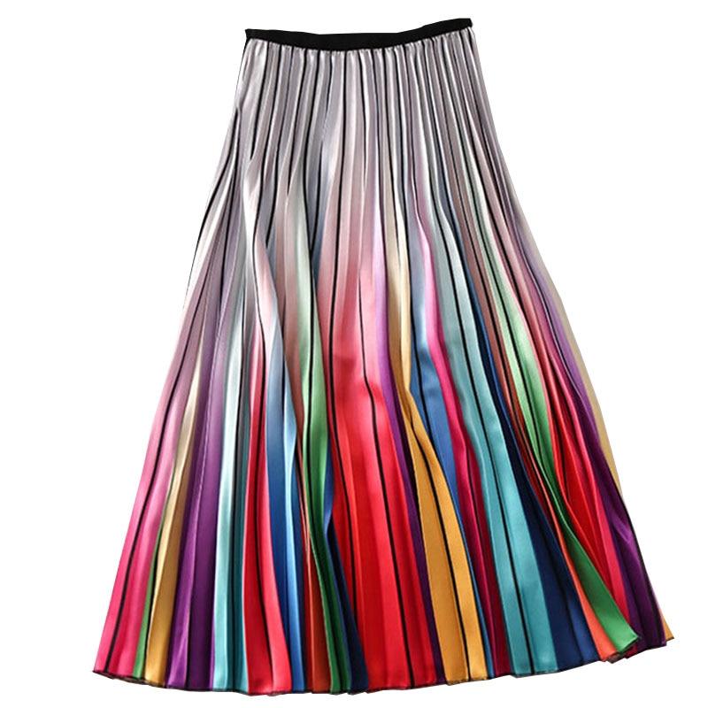Woman High Waist Pleated Skirt Spring Summer Rainbow Skirts Lady Elastic Waist A Line Midi Skirt Mid Calf Long Skirts