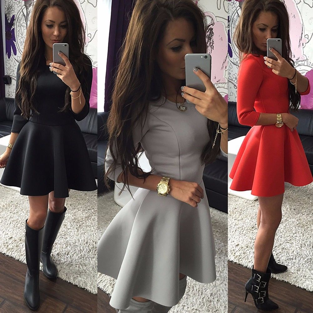 8f849a1471f0 Fashion Women s 3 4 Sleeve Sexy High Waist Party Bodycon Mini Skater Dress  Slim Ball