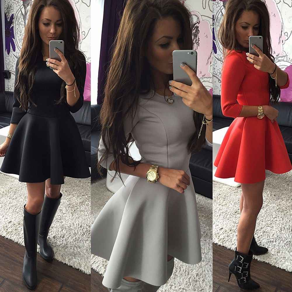 Fashion Women's 3/4 Sleeve Sexy High Waist Party Bodycon Mini Skater Dress Slim Ball Gown Pleated Mini Dress