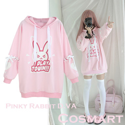 [STOCK]Game OW Figure D.VA DVA Cotton Fleece Hoodie Tied Long sleeve Dress Pullover cosplay costume Winter Coat NEW Free ship