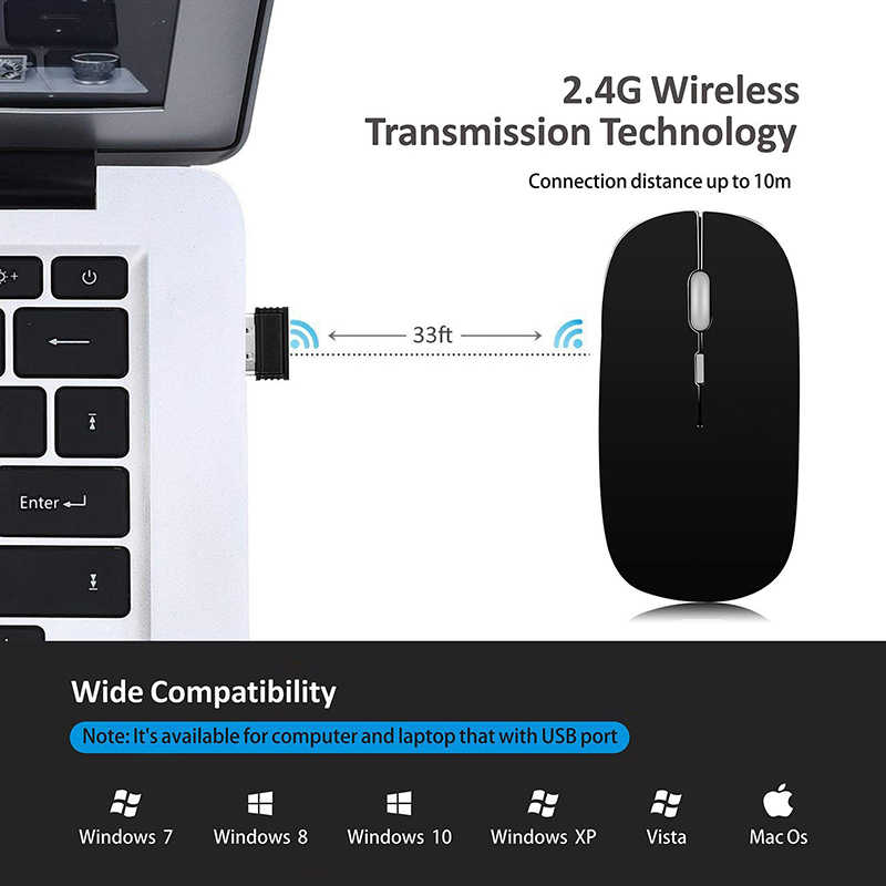 Bluetooth Mouse Wireless Computer Mouse Silent Mause USB Rechargeable  Ergonomic Mouse 2400DPI 2 4G Optical Mice For PC Laptop