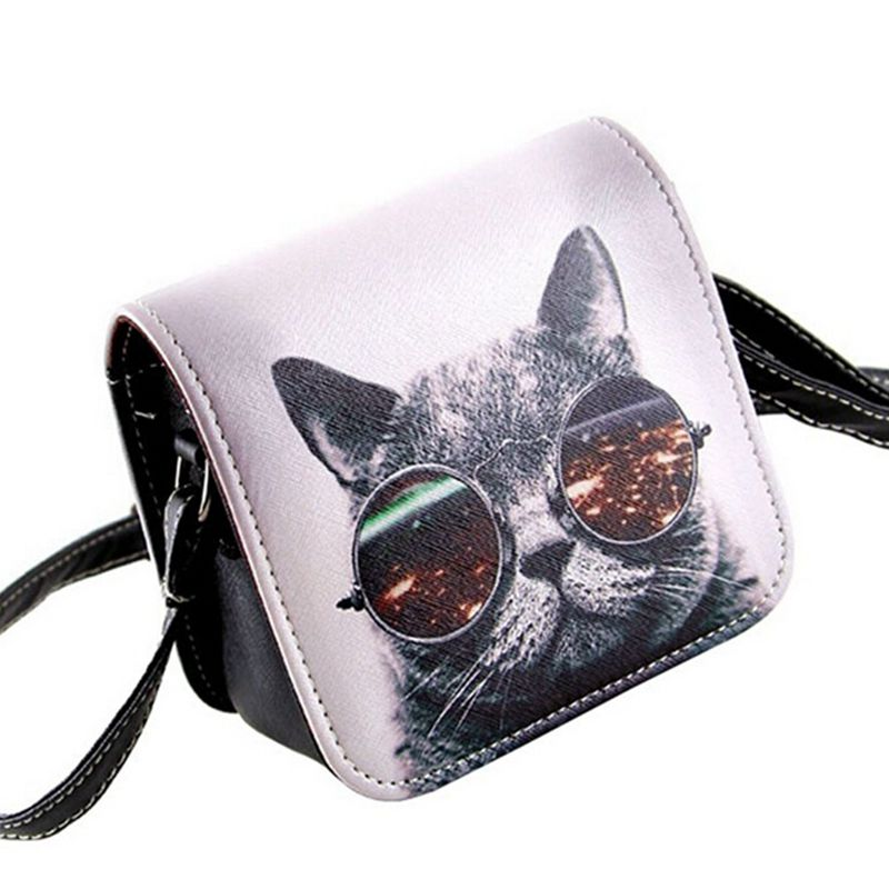 Bolsos Carteras Mujer Marca Women PU Leather Cat Wearing Glasses Print Messenger Handbag 2017 Women Bag   c40-484 мужской ремень cinto couro marca