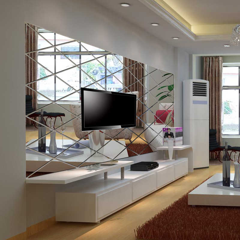 Mirror Wall Stckers Home Decor Diamond Mirror Effect Wall Stickers Living  room Bedroom Wall Decor 3D Wall Decals