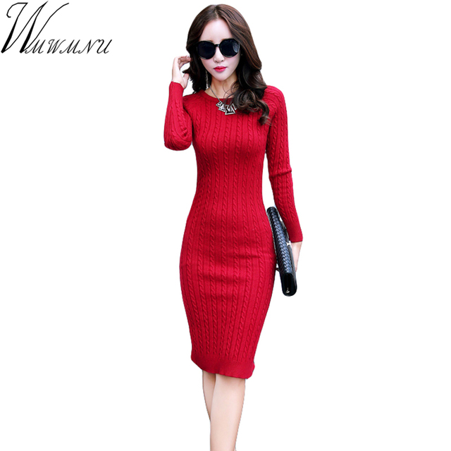 Wmwmnu Women Sweater Dress 2017 Long Sleeves Fashion Elegant 6 color slim Dresses Sexy Party Bodycon Femme O-Neck Dress ls598