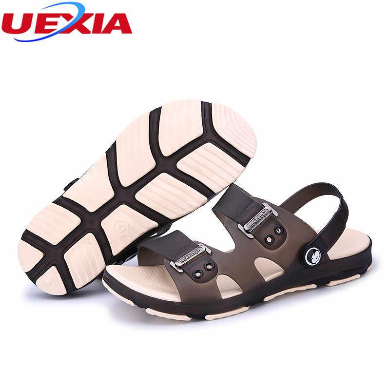 UEXIA 2020 erkek yaz ayakkabı sandalet yeni nefes ışıklı rahat açık kayma plaj yüksek kalite moda slaytlar ayakkabı