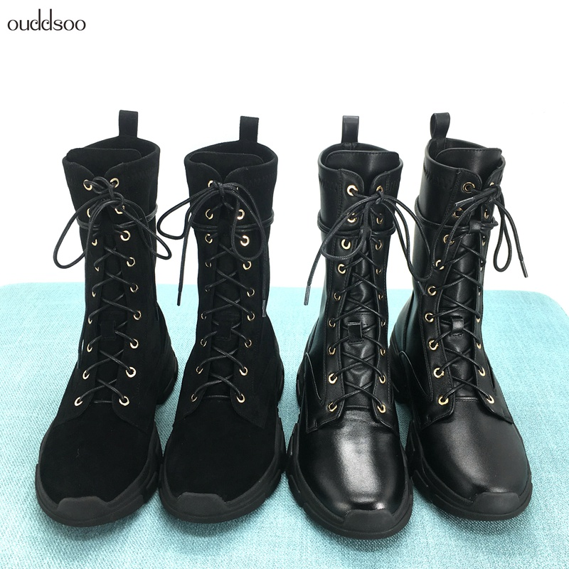 все цены на Genuine Leather Ankle Boots For Women Flats Winter Platform Black Lace Up Punk Motorcycle Military Combat Riding Martin Boots