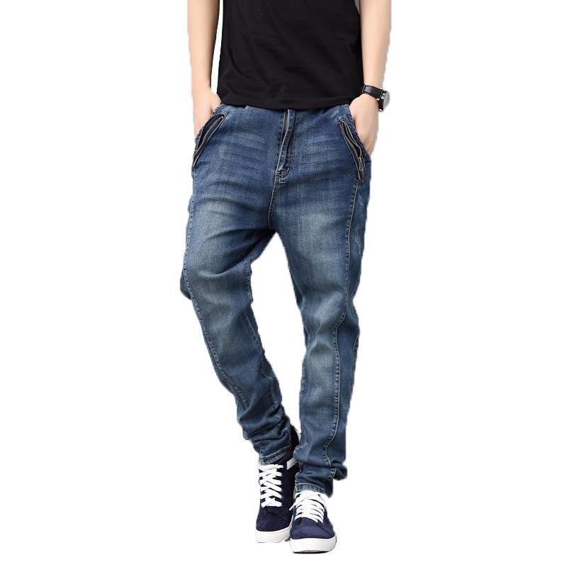 جديد الرجال السراويل زائد الحجم جينز سترتش الرجال الهيب هوب فضفاض الجينز ضوء غسل بلون Midweight الحريم الجينز مدبب السراويل Dsq-في جينز من ملابس الرجال على  مجموعة 2