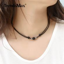 1.5mm Lava Rock Stone Choker Necklace Handmade Leather Chain Adjustable Length Mens Womens 8mm 10mm Wholesale Jewelry DNM18(Hong Kong,China)