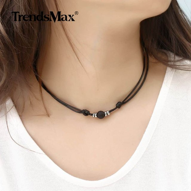 1.5mm Lava Rock Stone Choker Necklace Handmade Leather Chain Adjustable Length Mens Womens 8mm 10mm Wholesale Jewelry DNM18