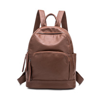Genuine Leather Backpack Small Soft Real Leather Women Backpack Black Red Female School Bags Single Shoulder