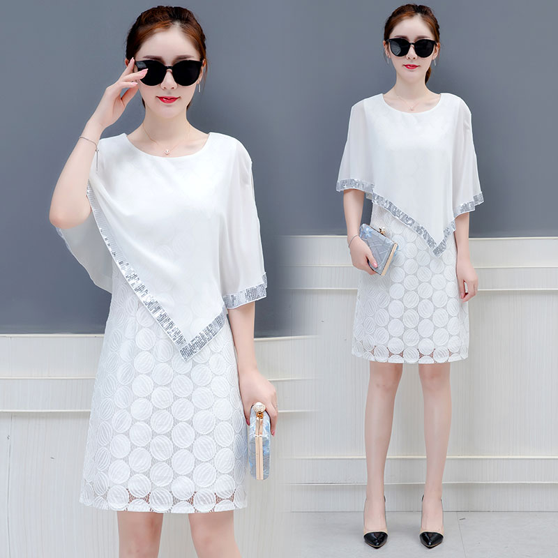 Chiffon dress women long spring and summer new lace Round shoulder casual lady clothes white black plus size sequins party