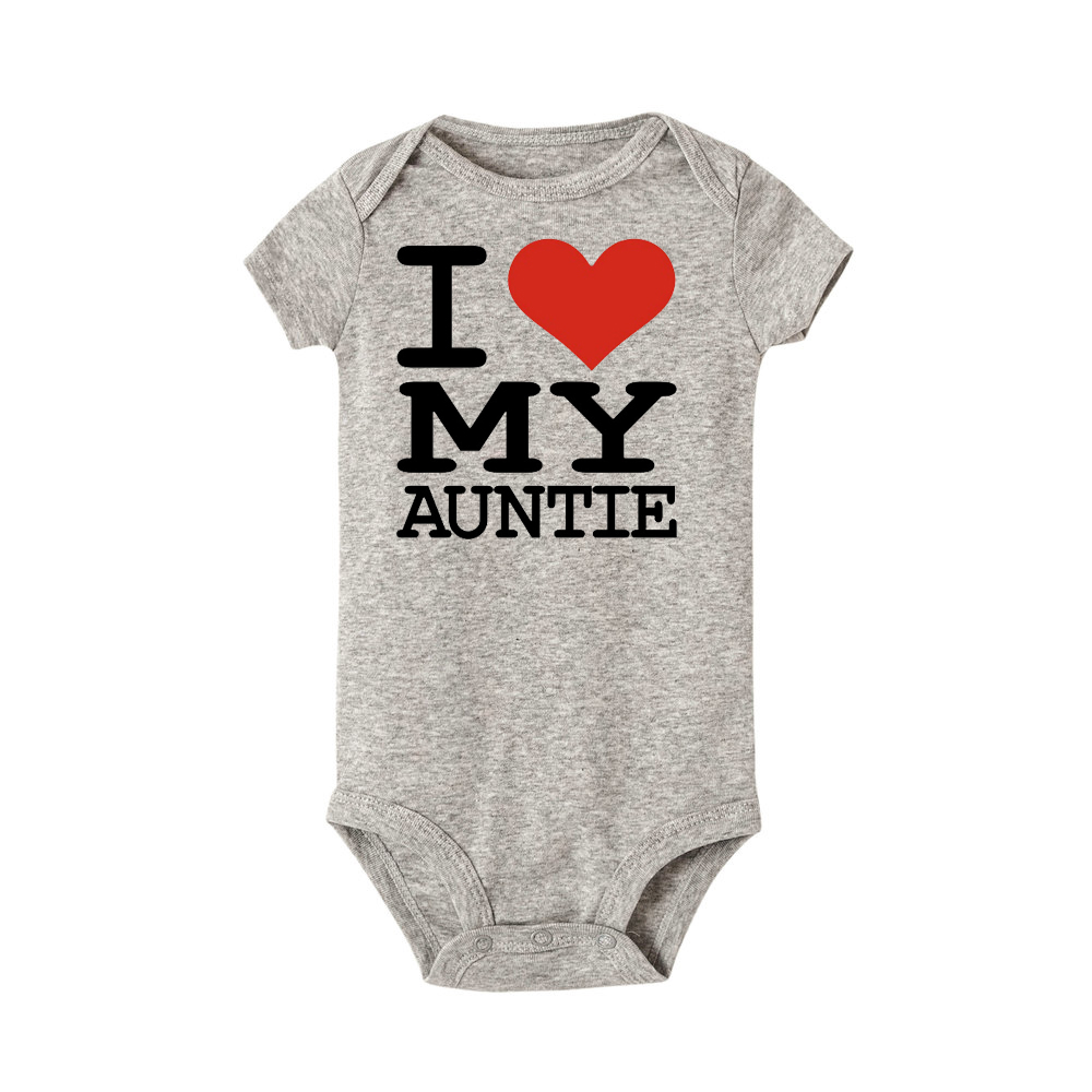I Love My Auntie Letter Print Summer Baby Romper Cotton Short Sleeve Romper For Baby Boy And Girl Color Summer Baby Clothes
