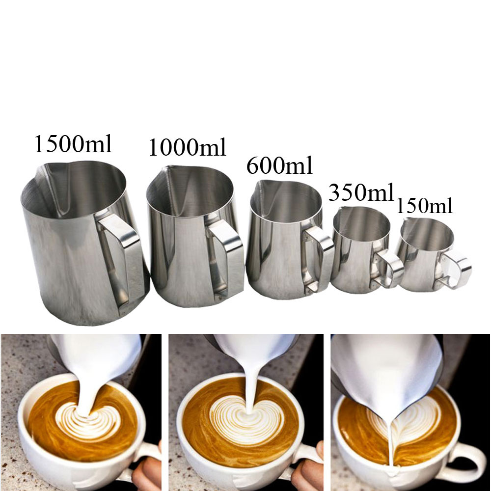 150/350/600/1000/1500ML Stainless Steel Pull Flower Coffee Cup Cappuccino Cream Milk Foam Mug Milk Frothing Jug Thermo Latte Art