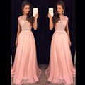 Nueva Llegada de la Tapa Del Cordón Largo Prom Vestidos Vestido De Festa Longo Piso-Longitud Vestido de Noche Del Partido Del Vestido de 2015 Envío Rápido caliente