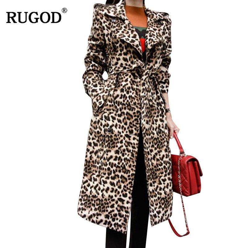 RUGOD New Long Trench Coat Women Leopard Casual Long Sleeve Women Coat With Belt Fashion Warm Winter Clothes Casaco Feminino
