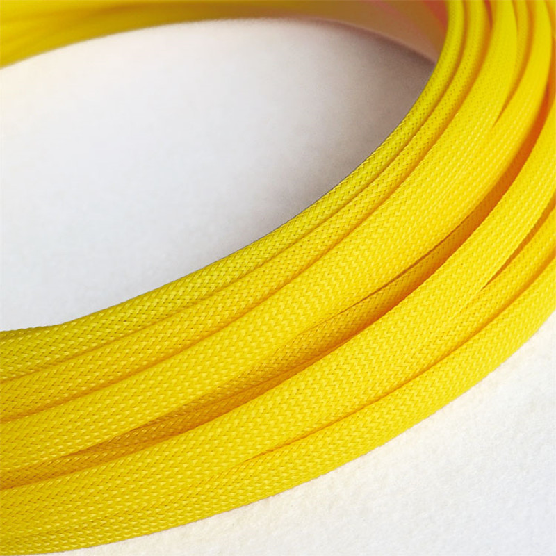 Yellow - High quality 10mm Braided PET Expandable Sleeving High Density Sheathing Plaited Cable Sleeves 1M 6mm braided cable wire sheathing sleeving harness expandable sleeving wire 20m mix color