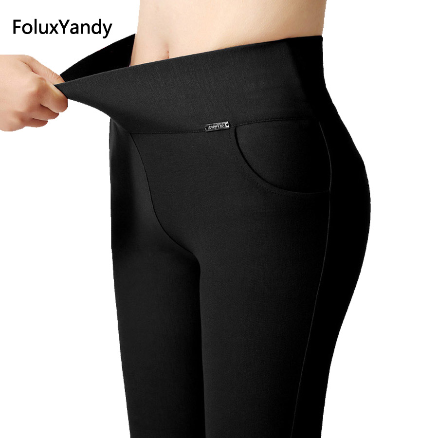 6 väriä korkea vyötäröliivit Leggingsit Naisten Plus-kokoinen 3 XL Slim elastinen venytetty Bodycon-leggingsit Office Lady -housut NJR02