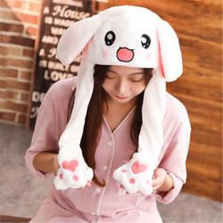 Новый милый шляпу с заячьими ушками шапка знаменитости милые ущипнул уши будет двигаться теплый кролик шляпа