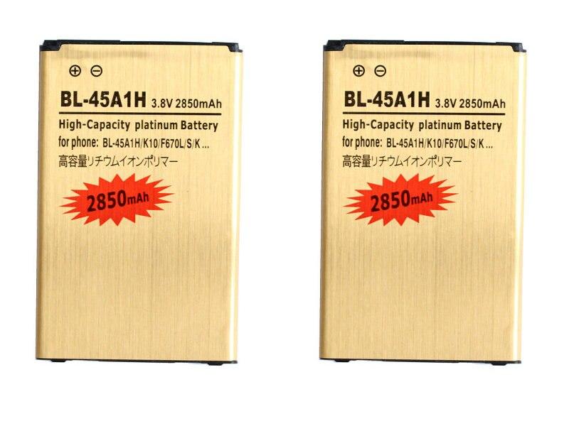 imágenes para Seasonye 2 unids/lote 2850 mAh BL-45A1H/BL45A1H Batería de Reemplazo de Oro Para LG K10 F670L F670K F670S F670 K420N K10 Q10 LTE K420