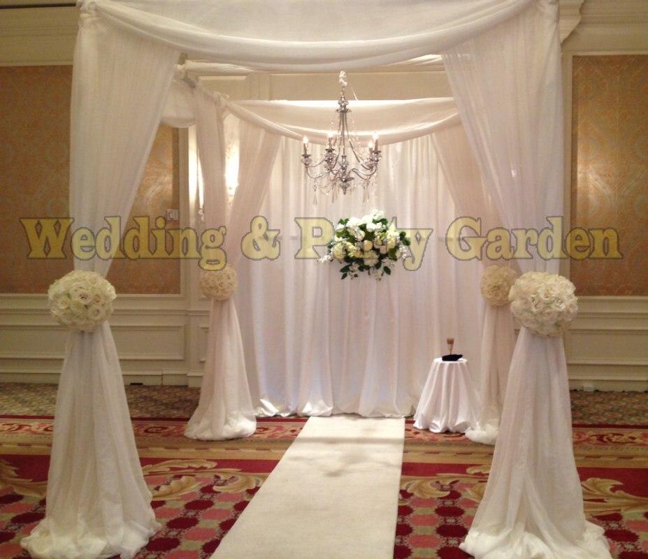 10ft * 10ft * 10ft Branco cortina dossel com suporte de tubo quadrado pavilhão decoração do palco do casamento