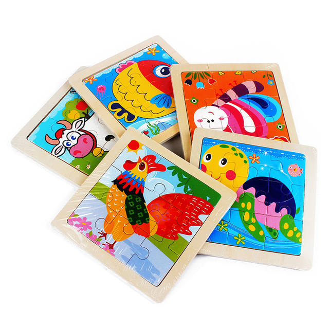 Kid's Cartoon Animals Wooden Puzzle > 3D