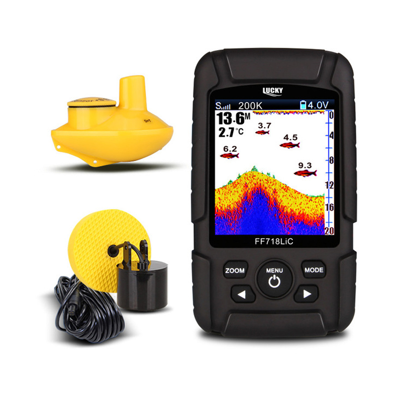 LUCKY Sonar FF718LiCD 2 8 Color LCD Portable Fish Finder 200KHz 83KHz Dual Sonar Frequency 328ft