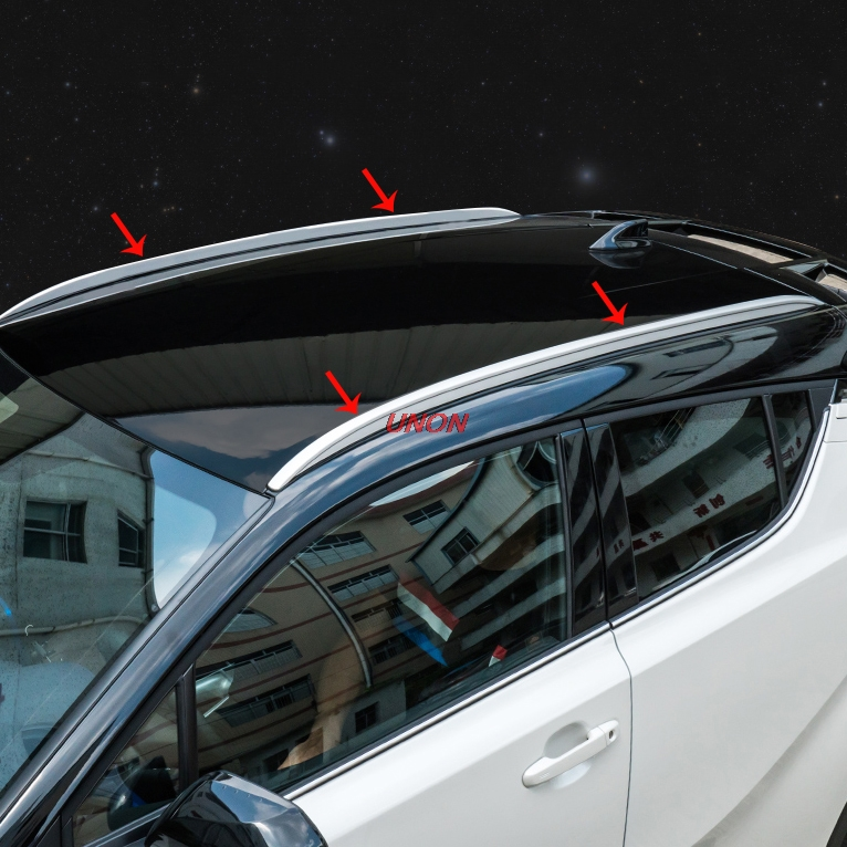 ilver Top Roof Rails Rack Side Bars Decoration Trim Cover Fit For Toyota C HR CHR 2017 2018 Scar accessories