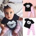 0-5A Recién Nacidos de los Bebés Fijados Ropa de Niño Conjunto Infantil niñas Trajes Labios Beso T Camisa Y Pantalones de Color Rosa de Verano disfraces