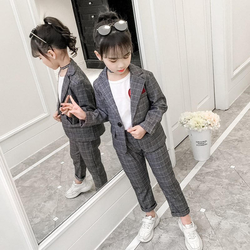 Image 4 - Teenage Girls Clothing Set Autumn Girls Plaid Suit Jackets +Pants School Tracksuit Girls Clothes Children Clothes 8 10 Year-in Clothing Sets from Mother & Kids