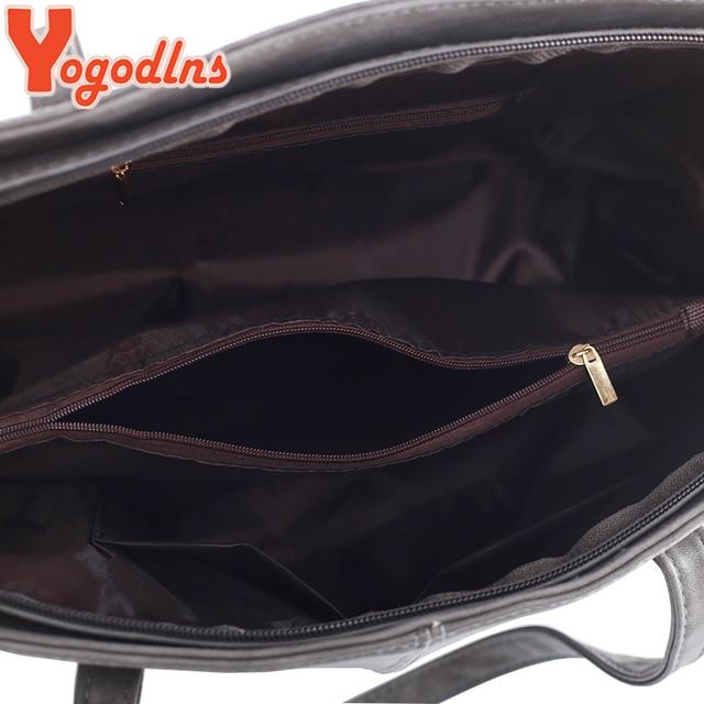 Yogodlns bag 2017 fashion women leather handbag brief shoulder bags gray /black large capacity luxury handbags tote bags design