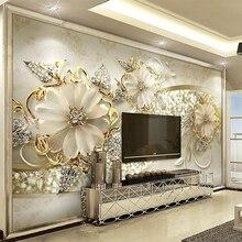 Европейский стиль 3D рельефные цветы узор ювелирные изделия фото фрески обои гостиная отель роскошный фон настенная живопись Декор