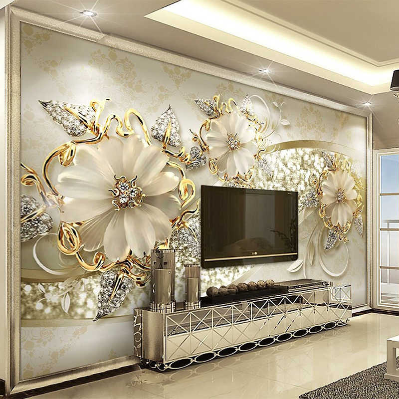 European Style 3D Relief Flowers Pattern Jewelry Photo Murals Wallpaper Living Room Hotel Luxury Background Wall Painting Decor