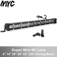 Super Slim 6D Lens Waterproof Led Light Bar For Suv Car Boat Tractor Truck 4WD Off Road 4x4 24V Straight Work Lights