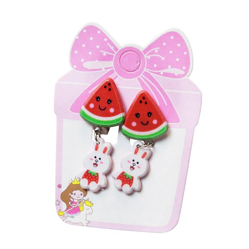 2019 New Cartoon Fruit Animal Lovely Baby Ear Clip Girls Hairpins Mickey Kitty Cat Ear Clips Kids Clip Earring for Girls in Clip Earrings from Jewelry Accessories