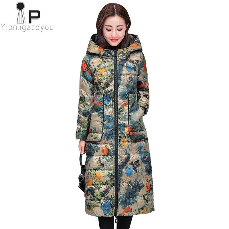 Autumn Duck   Down     Coat   Long Women Hooded Winter Plus Size Print   Down   Jacket Korean Thick Warm   Coats   Fashion Women   Down   Parka 4XL