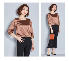 High Quality J41455 Autumn New Fashion Women O Neck Loose All Match Three Quarter Sleeve Basic Shirt