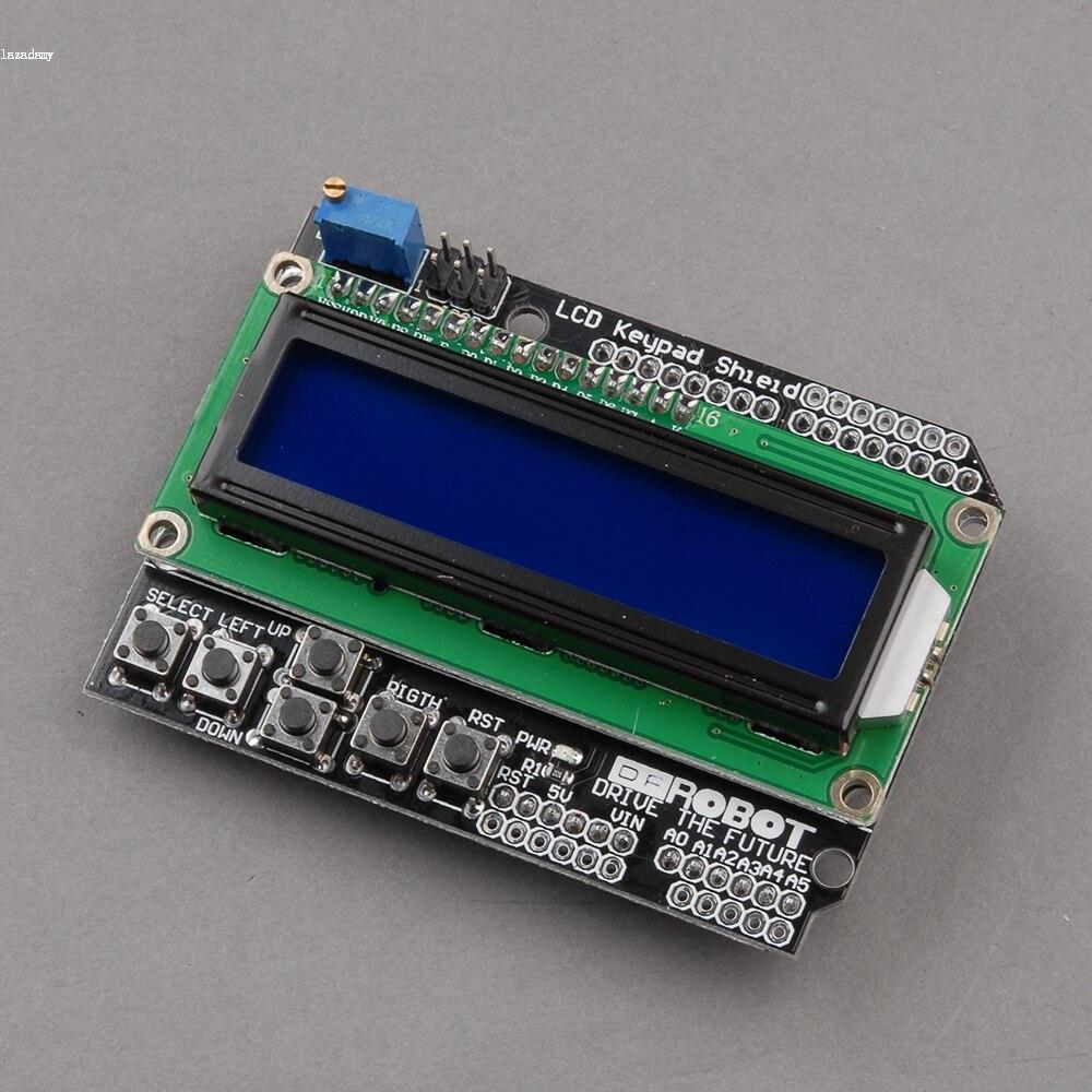 Free Shipping New 1PCS 1602 font b LCD b font Board Keypad Shield Blue Backlight for